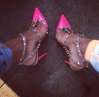 shoes neon pink heels spikes pointed toe