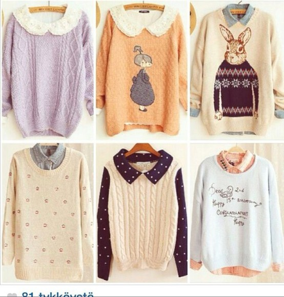 peter pan collar blouse bunny cream koren light cable knit orange