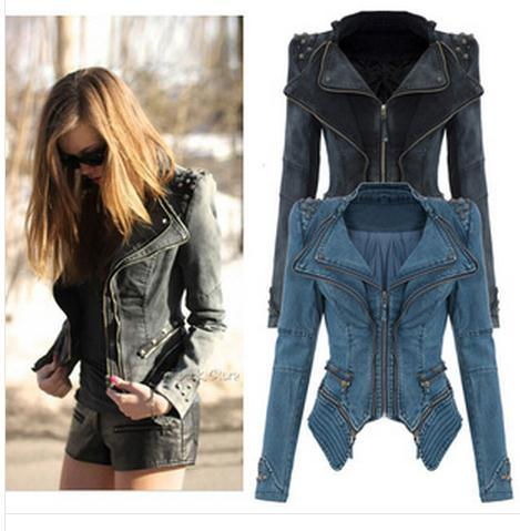 Fashion jeans rivet retro vintage jacket