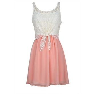 dress pink white lace tie-front top tie front pink dress white dress chiffon chic summer summer dress cute cute dress