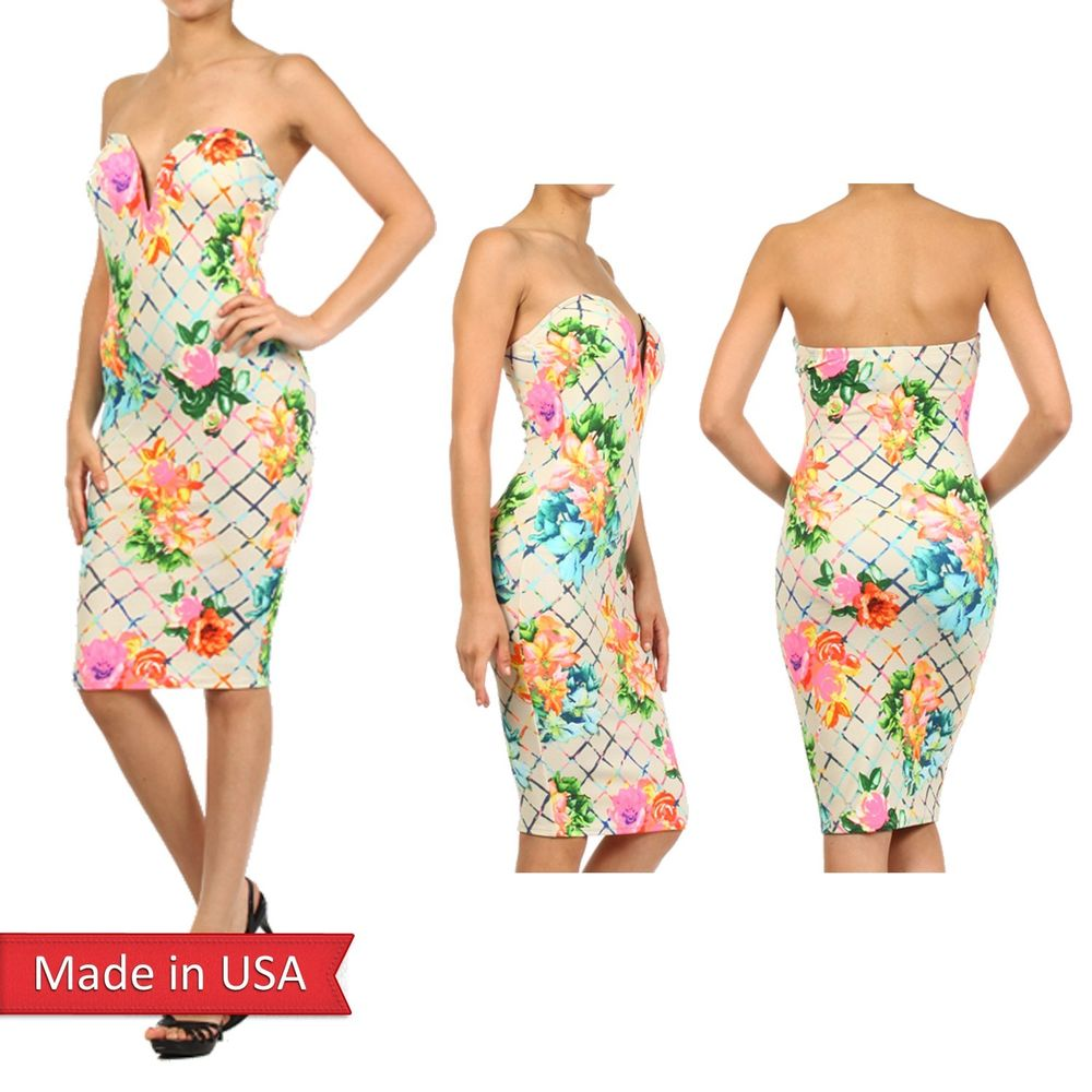 Sexy Floral Stripe Check Strapless Sweetheart Neckline w/ Wire Bodycon Dress USA