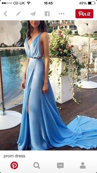 dress blue satin long long prom dress