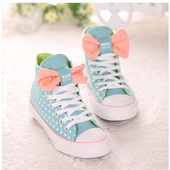 New 2015 Women Fashion Sneakers Boots Running Shoes Woman Cute Dot Bow High  top Canvas Casual ... 550ab10faba1