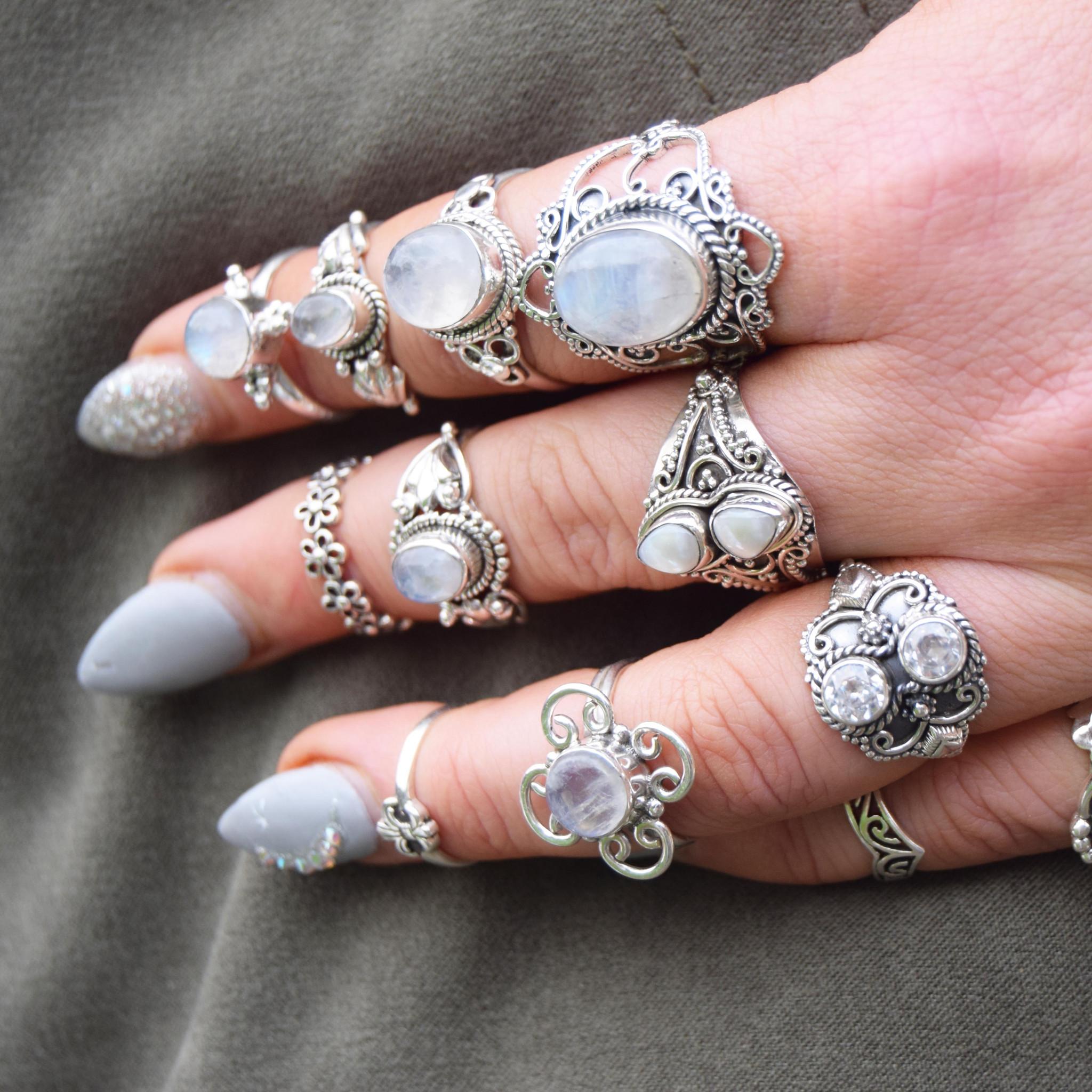 Silver boho rings