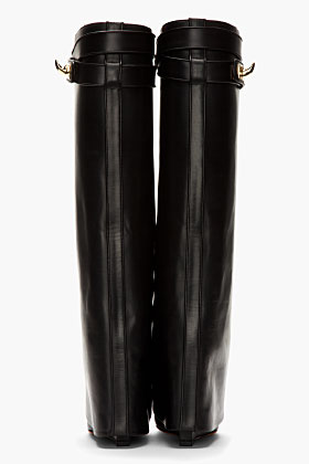 Givenchy Black Leather Shark Lock Wedge Boots for women | SSENSE