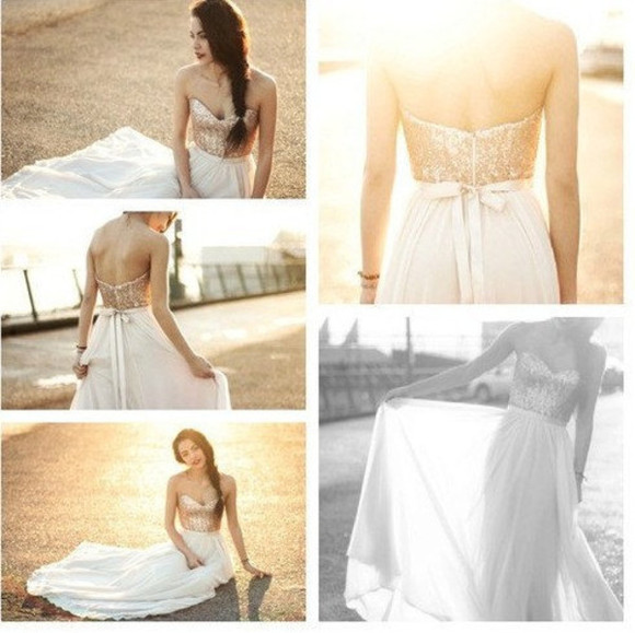 dress Bow Back Dress wedding dress gold sweetheart sweetheart neckline gold sequins long gown gown bridal gown bride bridal