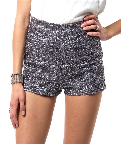 Waist Sequin Glitter Sparkle Dress Shorts Silver s M L | eBay