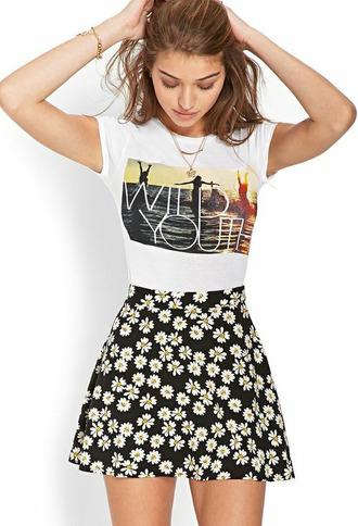 t-shirt nbla skirt skiirt daisy yellow high waisted denim dasiy