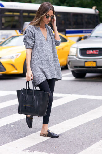 something navy blogger grey sweater oversized sweater celine bag black leather bag black leggings loafers gucci princetown sweater weather sweater celine black bag round sunglasses leggings grey oversized sweater furry shoes