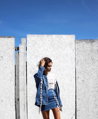 skirt jean skirt raw cut jean skirt denim skirt frayed denim streetstyle summer outfits outfit spring outfits jean jackets denim jacket all denim outfit gucci gucci shirt vintage blogger top blogger lifestyle