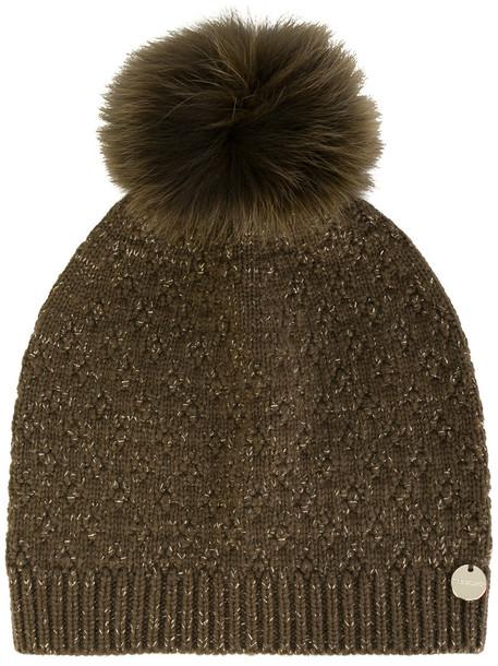 Yves Salomon Accessories fur fox women beanie pom pom beanie wool brown hat
