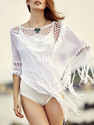 top white summer beach trendy cover up fringes dressfo
