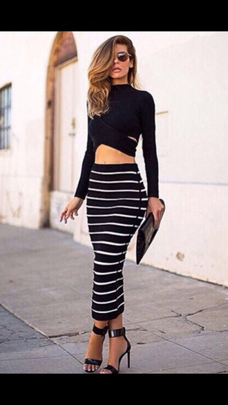 black top striped skirt stripes two-piece outfit crop tops long sleeves midi skirt style fashion fashionista spring date outfit