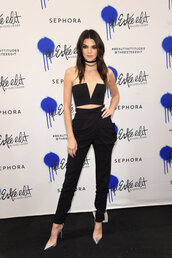 top,bustier,bustier crop top,kendall jenner,pumps,pants,high waisted,free vibratonz,choker necklace,silver,shoes,jewels,jewelry,black choker,layered,keeping up with the kardashians,celebrity style,celebrity,celebstyle for less,model,black velvet choker