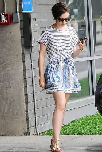 tank top top lily collins skirt sandals summer outfits sunglasses