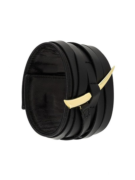 SHAUN LEANE cuff women gold leather black yellow jewels