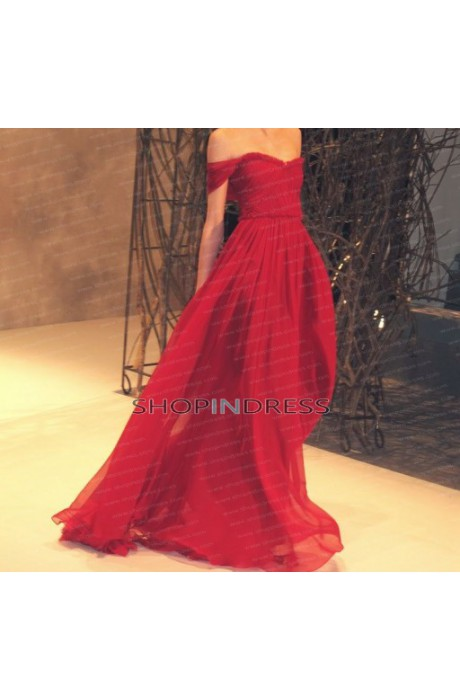 Line strapless floor length chiffon burgundy evening dress with ruffles npd098051 sale at shopindress.com