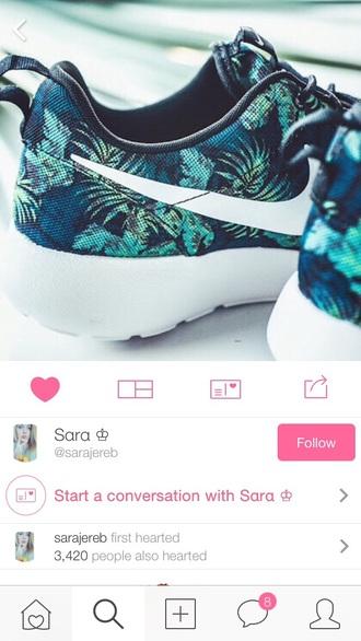 shoes nike roshe runs tropical green blue pattern runners. roshe run print space blue palm tree print swoosh