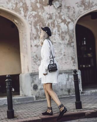 hat tumblr fisherman cap dress white dress mini dress shirt dress shoes black shoes bag