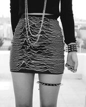 jewels,black,garter,spikes,joy division,band merch,skirt,art,white,cool,black and white,streetstyle,style,punk,rock,indie,goth,grunge,soft grunge,black skirt,nail accessories,new order,pattern