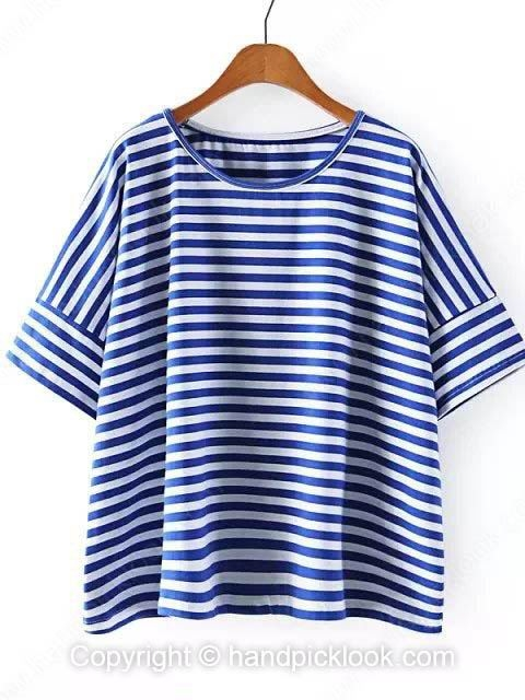 Blue Round Neck Half Sleeve Striped T-Shirt - HandpickLook.com