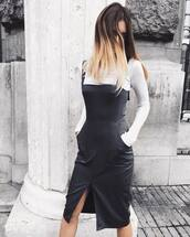 dress,tumblr,midi dress,black midi dress,black dress,slit dress,leather dress,top,white top,winter date night outfit,date outfit,black and white