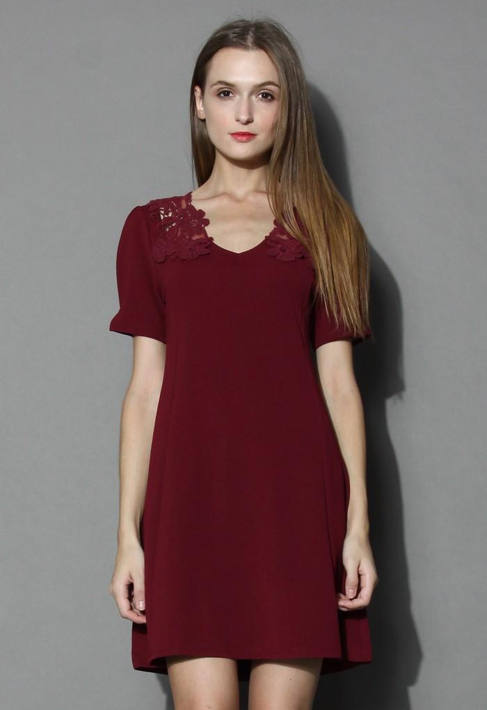 Delicate Lace Back Flare Dress in Wine - Retro, Indie and Unique Fashion
