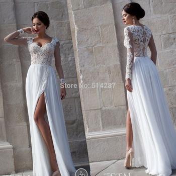 2015 vestido de noiva sweetheart manga larga de encaje apliques