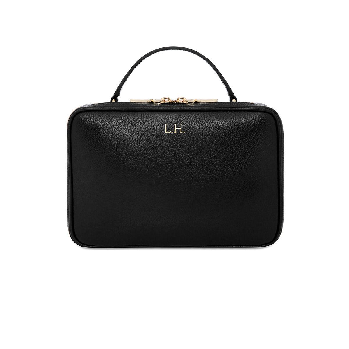Grainy Black Camera Bag  (Gold Zip)