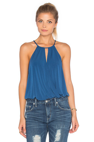 bodysuit v neck blue