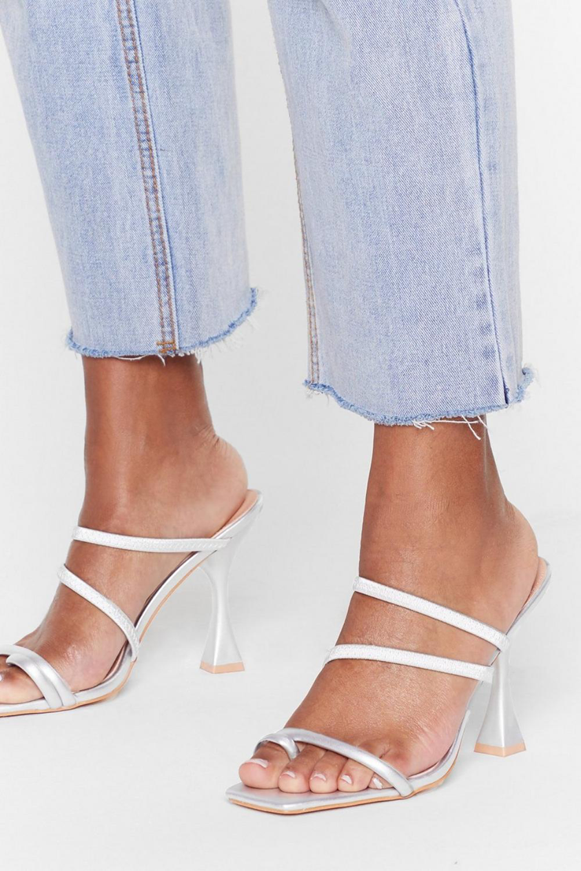 Square toe louis heel strappy mules