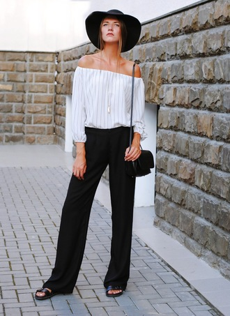 yuliasi blogger pants off the shoulder top 70s style