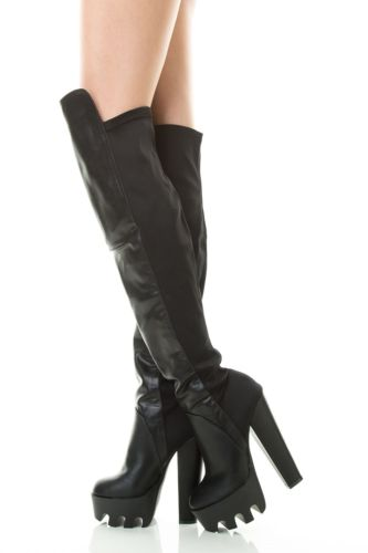Heel Platform Knee High Boots – Black : Glamorous and Fabulous |