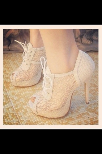 shoes cute high heels beige shoes peep toe lace lace up heels