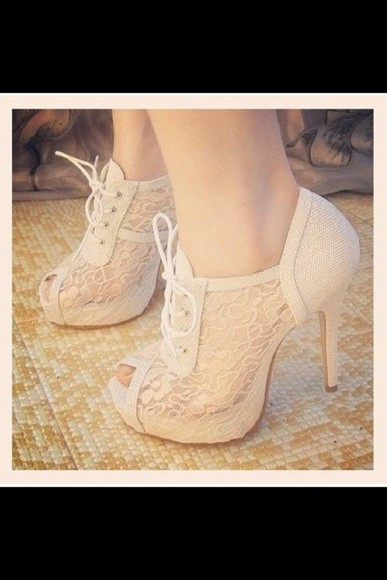 shoes beige shoes cute high heels peep toe lace lace up heels