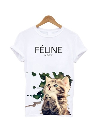t-shirt white quote on it feline meow cats celfie selfie