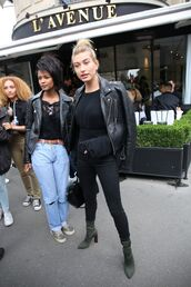jacket,top,hailey baldwin,model off-duty,streetstyle,all black everything,fall outfits
