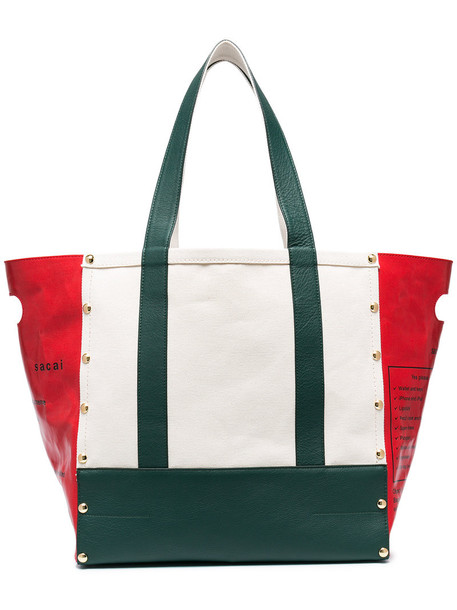 Sacai - garden tote bag - women - Cotton/Calf Leather - One Size, White, Cotton/Calf Leather