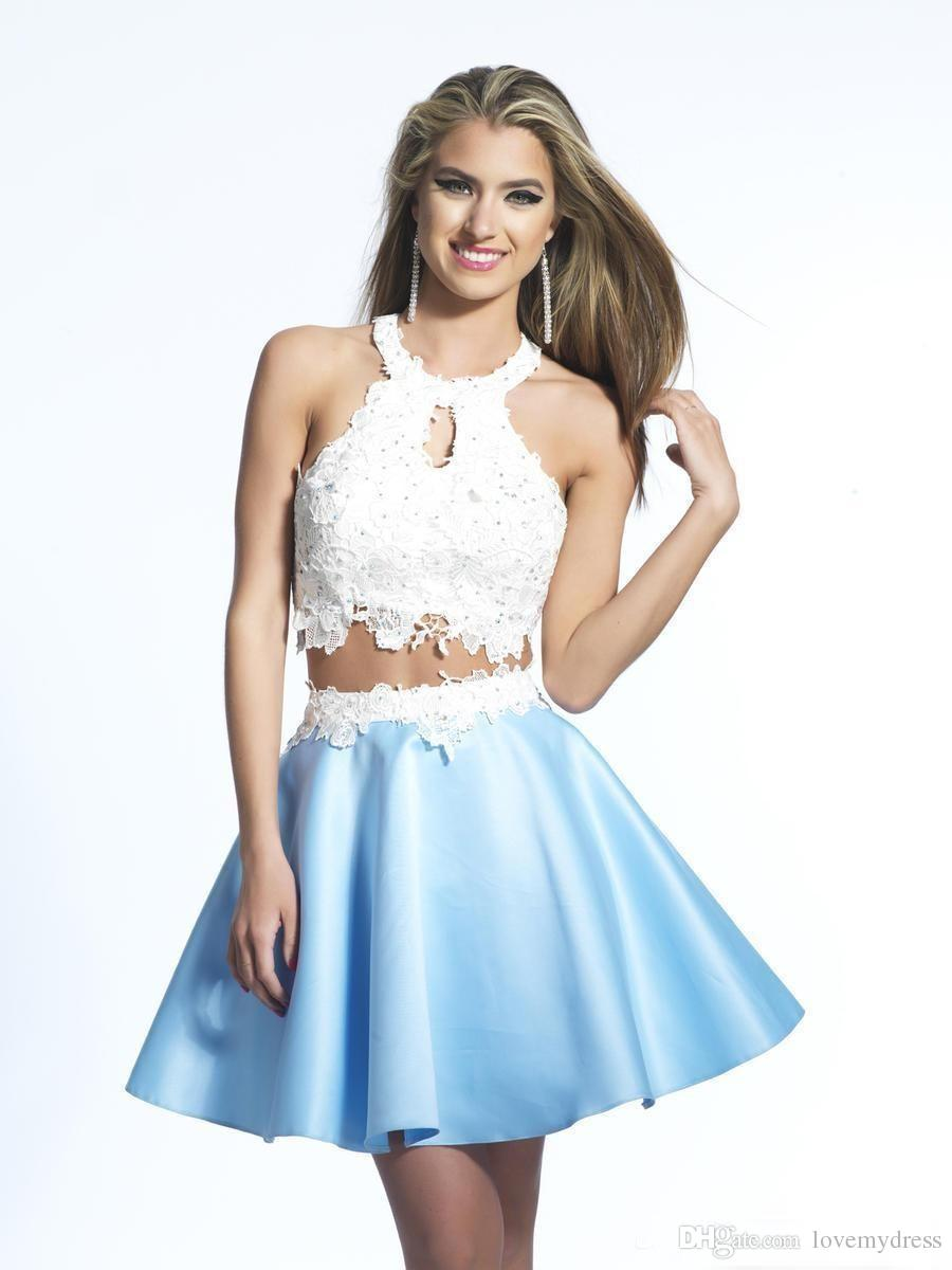 07bc876504f Blue And White Two Piece Prom Dresses