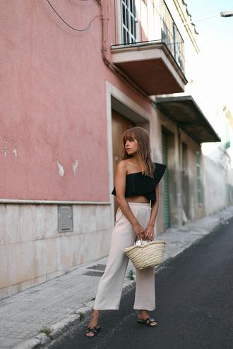 top tumblr one shoulder ruffle pants white pants culottes sandals slide shoes bag woven bag shoes