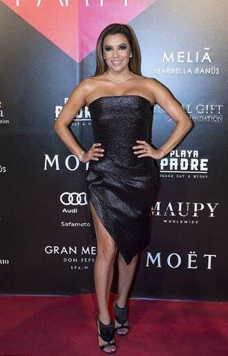 shoes black dress dress asymmetrical strapless eva longoria