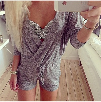 dress swimwear jumpsuit romper one piece bra bralette rhinestones embellished top underwear grey drawstring tie long sleeves top
