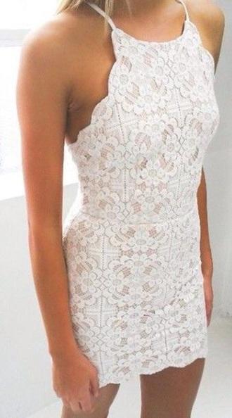 dress white lace halter tight dress