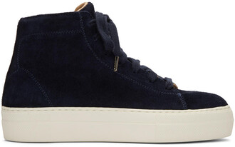 high sneakers navy suede shoes