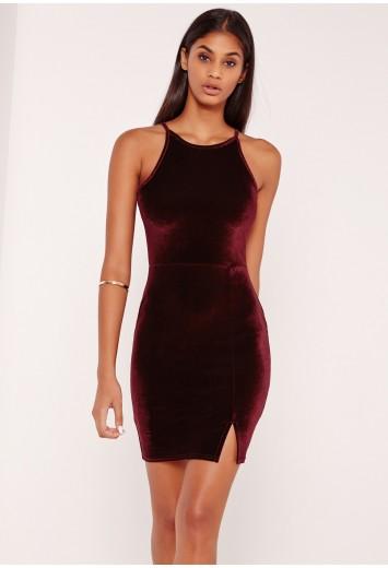 46a163b71cf1 Missguided - 90 s Neck Split Hem Velvet Bodycon Dress Burgundy