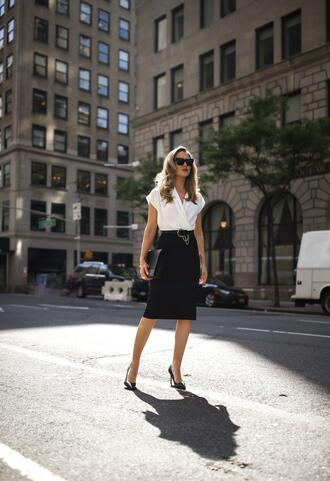 the classy cubicle blogger dress belt shoes bag sunglasses jewels office outfits pumps black skirt