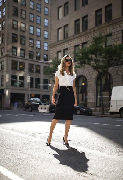 the classy cubicle blogger dress belt shoes bag sunglasses jewels office outfits pumps black skirt