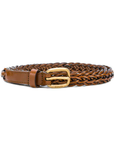 gucci women braided belt leather brown