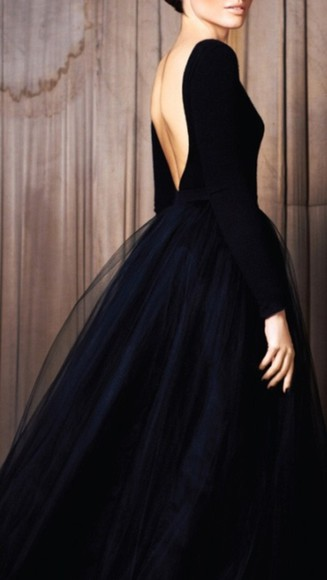 dress perfect gown blue chic little black dress black vintage backless simple plain tulle low back long sleeve low cut back flowy navy blue dress open back black prom dress floor length dress beautiful dress