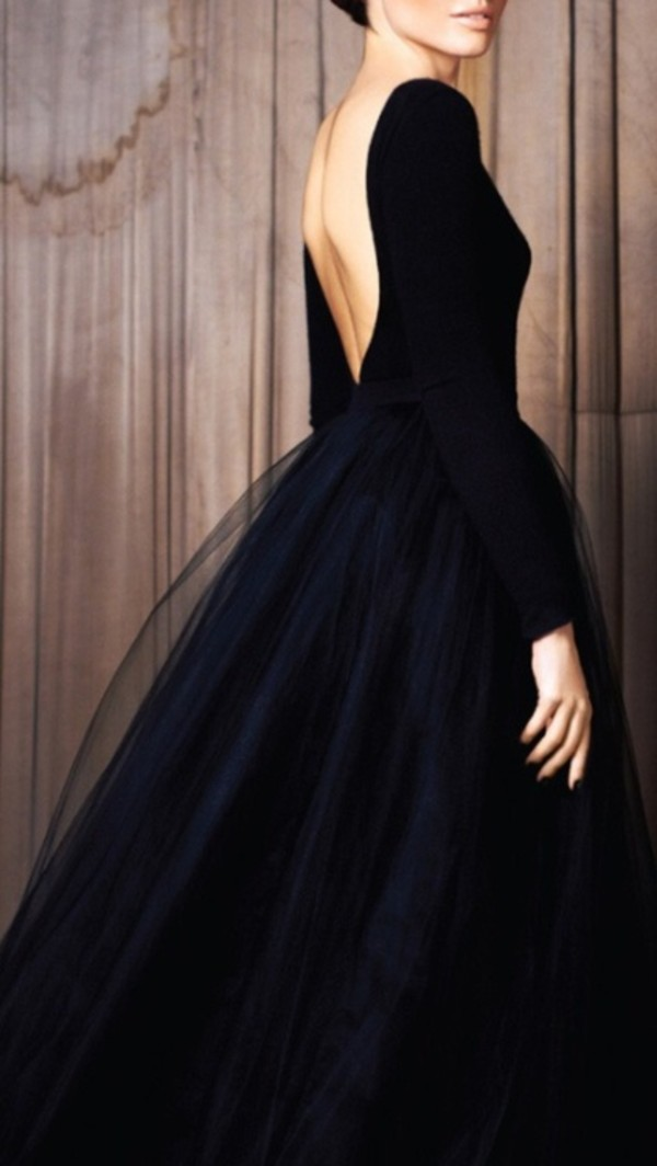 dress, perfect, chic, puffy, backless dress, tulle dress, backless, black,  vintage, black dress, flowy, cute, fancy, party, dress, idea, date outfit,  prom, ...